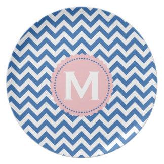 Royal Blue White Monogram Chevron Pattern Plate