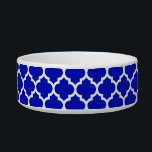 """Royal Blue White Moroccan Quatrefoil Pattern #5 Bowl<br><div class=""""desc"""">Royal Blue and White Moroccan Quatrefoil Trellis Pattern #5    You can customize this with your own text and / or images if you so choose to make your own unique design.    If you would like this design in other colors,  just drop us an email.    2014 &#169;FantabulousPatterns All rights reserved</div>"""