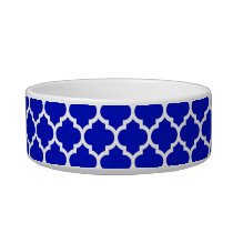 Royal Blue White Moroccan Quatrefoil Pattern #5 Bowl
