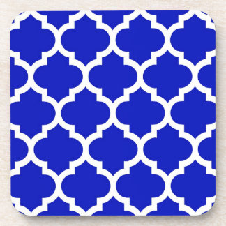 Royal Blue White Moroccan Quatrefoil Pattern #5 Coaster