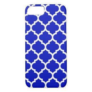 Royal Blue White Moroccan Quatrefoil Pattern #5 iPhone 7 Case