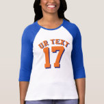 Royal Blue White & Orange Adults   Sports Jersey T-Shirt