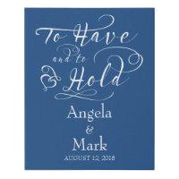 Royal Blue White Personalized Wedding Sign