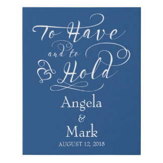 Royal Blue White Personalized Wedding Sign