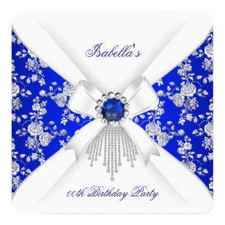 Royal Blue White Rose Damask Pearl Birthday Card