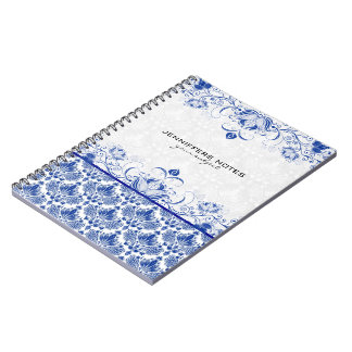 Royal Blue & White Vintage Damasks & Swirls Spiral Note Book
