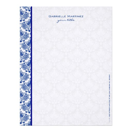 Royal Blue & White Vintage Floral Damasks Letterhead