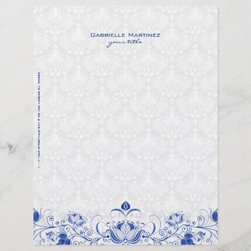 Royal Blue & White Vintage Floral Damasks & Swirls Letterhead