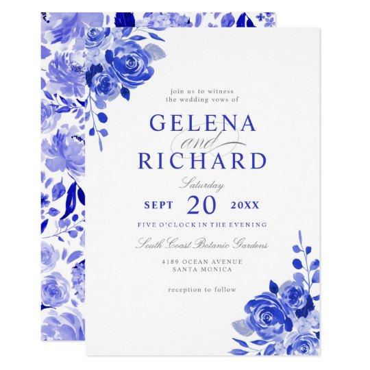 Royal Blue White Watercolor Blue Floral Wedding Invitation