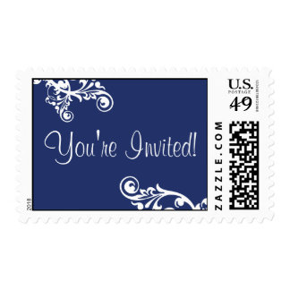 Royal Blue & White You're Invited Flourish Postage