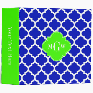 Royal Blue Wht Moroccan #5 Lime 3 Initial Monogram 3 Ring Binder