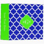 Royal Blue Wht Moroccan #5 Lime 3 Initial Monogram Vinyl Binders