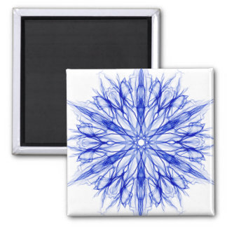 Royal Blue Winter Snowflake Fractal Magnet