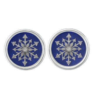 Royal Blue Winter Wedding Snowflake Cuff Links