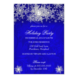 Royal Blue Winter Wonderland Holiday Party Card