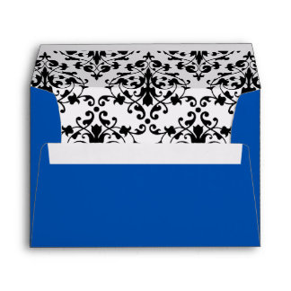 Royal Blue with Black and White Damask Envelope