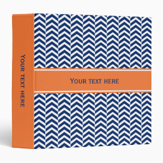 Royal Blue with Orange Chevron Pattern 3 Ring Binder