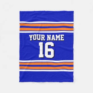 Royal Blue with Orange White Stripes Team Jersey V Fleece Blanket