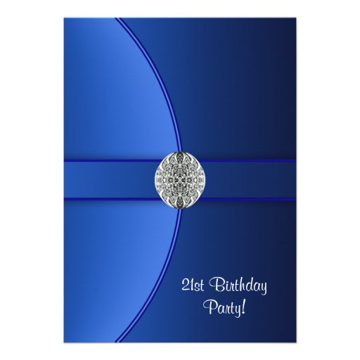 Royal Blue Womans 21st Birthday Party Custom Announcement