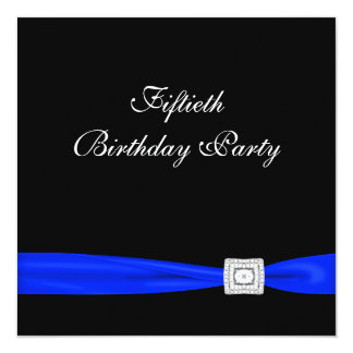 Royal Blue Womans Classy Black 50th Birthday Party Card