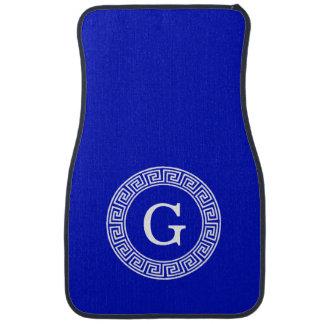 Royal Blue Wt Greek Key Rnd Frame Initial Monogram Car Mat