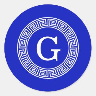 Royal Blue Wt Greek Key Rnd Frame Initial Monogram Classic Round Sticker