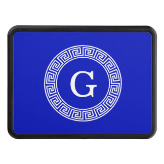 Royal Blue Wt Greek Key Rnd Frame Initial Monogram Hitch Cover