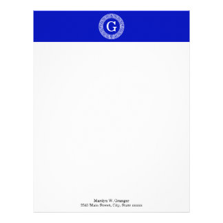 Royal Blue Wt Greek Key Rnd Frame Initial Monogram Letterhead