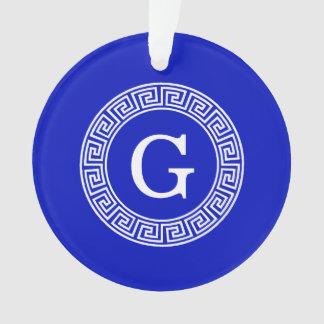 Royal Blue Wt Greek Key Rnd Frame Initial Monogram Ornament