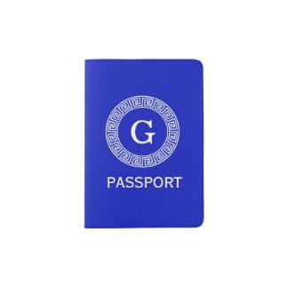 Royal Blue Wt Greek Key Rnd Frame Initial Monogram Passport Holder