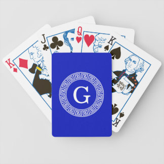 Royal Blue Wt Greek Key Rnd Frame Initial Monogram Bicycle Playing Cards