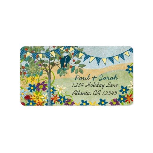 Royal Blue & Yellow Bunting Vintage Love Birds Label
