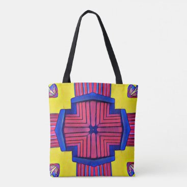 Royal Blue Yellow Magenta Modern Linear Pattern Tote Bag