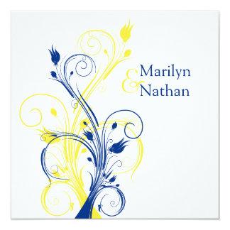 "Royal Blue, Yellow, White Floral Wedding Invite 5.25"" Square Invitation Card"
