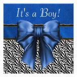 Royal Blue Zebra Baby Boy Shower Invitations
