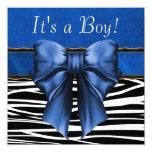 Royal Blue Zebra Baby Shower Personalized Invitations