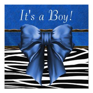 "Royal Blue Zebra Baby Shower 5.25"" Square Invitation Card"