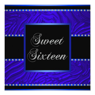 Royal Blue Zebra Blue Sweet 16 Birthday Party Card