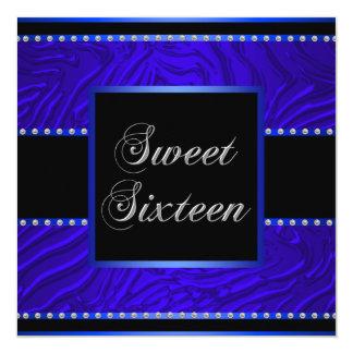 Royal Blue Zebra Blue Sweet 16 Birthday Party 5.25x5.25 Square Paper Invitation Card