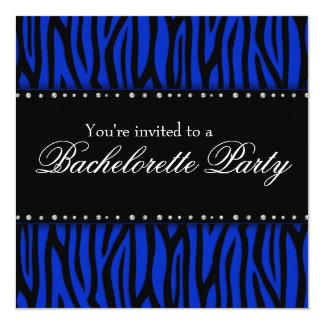 Royal Blue Zebra Diamonds Bachelorette Party Card