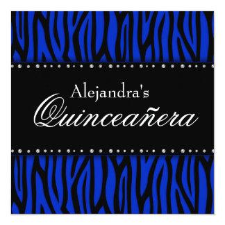 Royal Blue Zebra Diamonds Quinceanera Card
