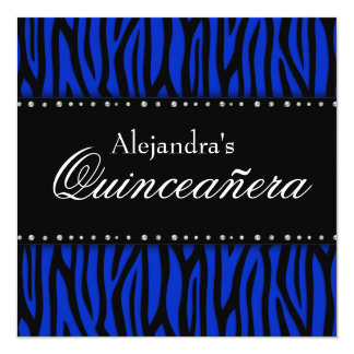 Royal Blue Zebra Diamonds Quinceanera Personalized Announcements