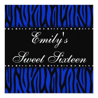 "Royal Blue Zebra Diamonds Sweet 16 Birthday 5.25"" Square Invitation Card"