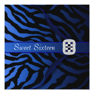 Royal Blue Zebra Sweet Sixteen Party 5.25x5.25 Square Paper Invitation Card