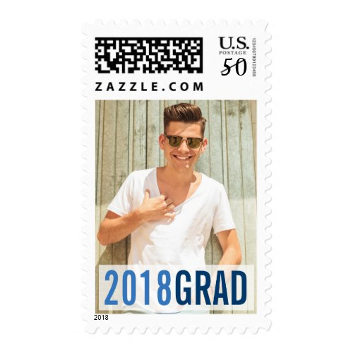 Royal Blues Modern Graduation Photo Postage