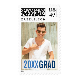 Royal Blues Modern Graduation Photo Postage Stamp