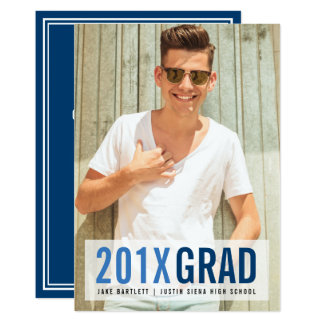 Royal Blues Photo Graduation Party Card