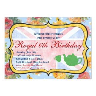 "Royal British Birthday Party Invitation 5"" X 7"" Invitation Card"
