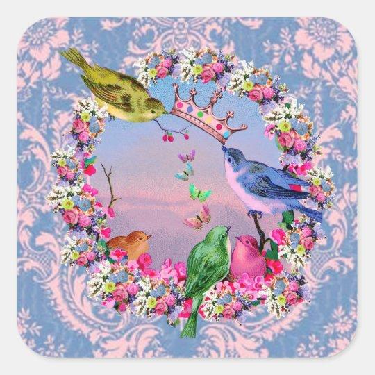 Royal Brown Bird on Vintage Floral Square Sticker