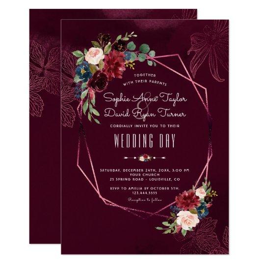royal burgundy blush floral geometric wedding invitation